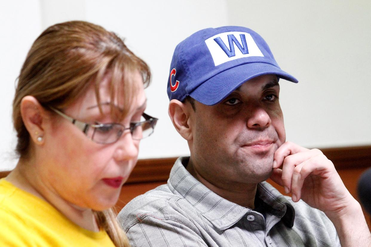 U.S. Army veteran Miguel Perez-Montes, who served two tours in Afghanistan, with his mother, Esperanza Montes, during a news conference following his deportation by U.S. authorities, March 27, 2018. (Photo: Jorge Duenes/Reuters)