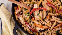 """<p>For when you're craving ALL the things: spicy, creamy, chicken, veggies!</p><p>Get the recipe from <a href=""""https://www.delish.com/cooking/recipe-ideas/a23570381/rasta-pasta-recipe/"""" rel=""""nofollow noopener"""" target=""""_blank"""" data-ylk=""""slk:Delish"""" class=""""link rapid-noclick-resp"""">Delish</a>.</p>"""