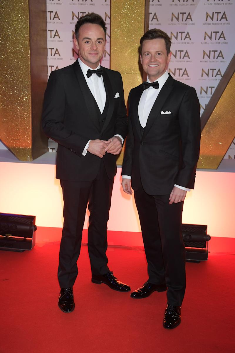 LONDON, ENGLAND - JANUARY 28: Anthony McPartlin and Declan Donnelly attend the National Television Awards 2020 at The O2 Arena on January 28, 2020 in London, England. (Photo by David M. Benett/Dave Benett/Getty Images)