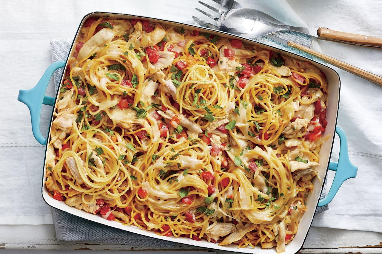 """<p>Give your traditional <a href=""""https://www.southernliving.com/dish/casserole/9x13-chicken-recipes"""">chicken casserole</a> a break and serve this bright and lively chicken spaghetti. You only need a Dutch oven and a <a href=""""https://www.southernliving.com/dish/casserole/vintage-casserole-recipes"""">9-x-13 baking dish</a> to create this delicious meal, meaning there is less clean-up afterwards. Cook and shred your chicken in advance to save time.</p> <p><a href=""""https://www.myrecipes.com/recipe/easy-chicken-spaghetti"""">Easy Chicken Spaghetti Recipe</a></p>"""