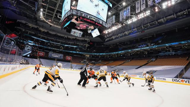 The NHL resumed exhibition games on Tuesday. (Mark Blinch/NHLI via Getty Images)