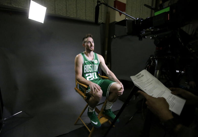 Boston Celtics forward Gordon Hayward is seated during an interview at NBA basketball media day, Monday, Sept. 24, 2018, in Canton, Mass. (AP Photo/Steven Senne)