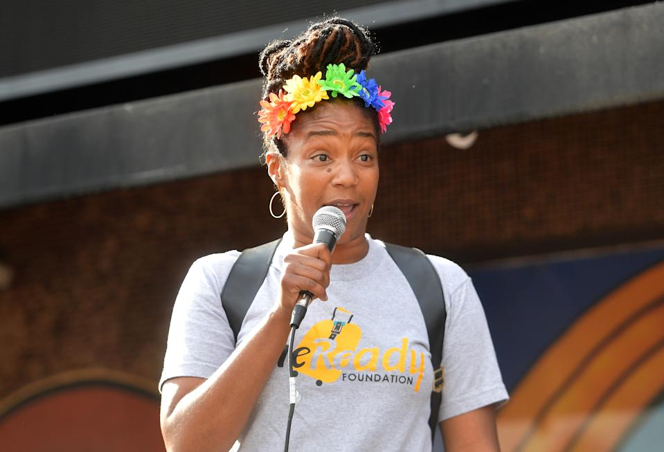 WEST HOLLYWOOD, CALIFORNIA - JUNE 19: Tiffany Haddish speaks onstage at Comic and Hollywood Communities Coming Together to Mark Juneteenth Anniversary of Freedom on June 19, 2020 in West Hollywood, California. (Photo by Matt Winkelmeyer/Getty Images)