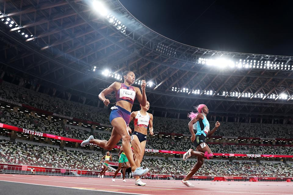 <p>Allyson Felix of Team USA competes in the Women's 400m Final on day fourteen of the Tokyo 2020 Olympic Games at Olympic Stadium on August 06, 2021 in Tokyo, Japan. (Photo by Christian Petersen/Getty Images)</p>