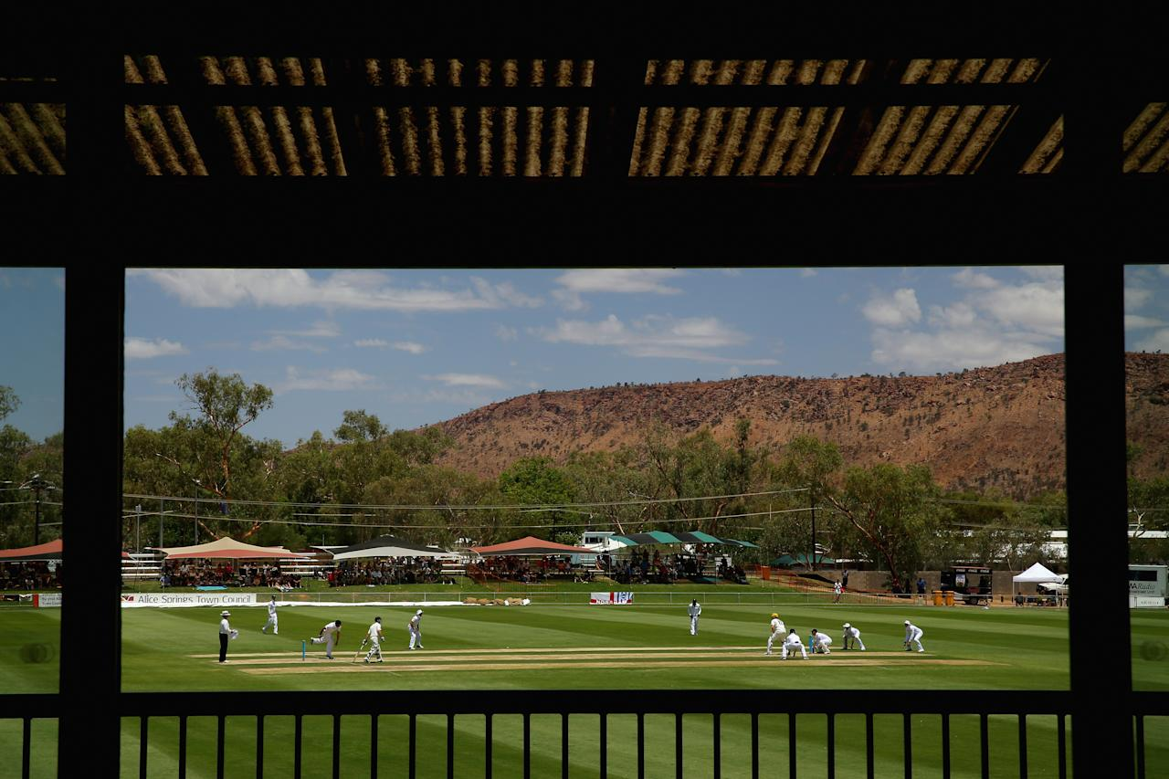 ALICE SPRINGS, AUSTRALIA - NOVEMBER 30:  (EDITORS NOTE: A POLARIZING FILTER WAS USED IN THE CREATION OF THIS IMAGE) A general view is seen during day two of the tour match between the Chairman's XI and England at Traeger Park Oval on November 30, 2013 in Alice Springs, Australia.  (Photo by Mark Kolbe/Getty Images)