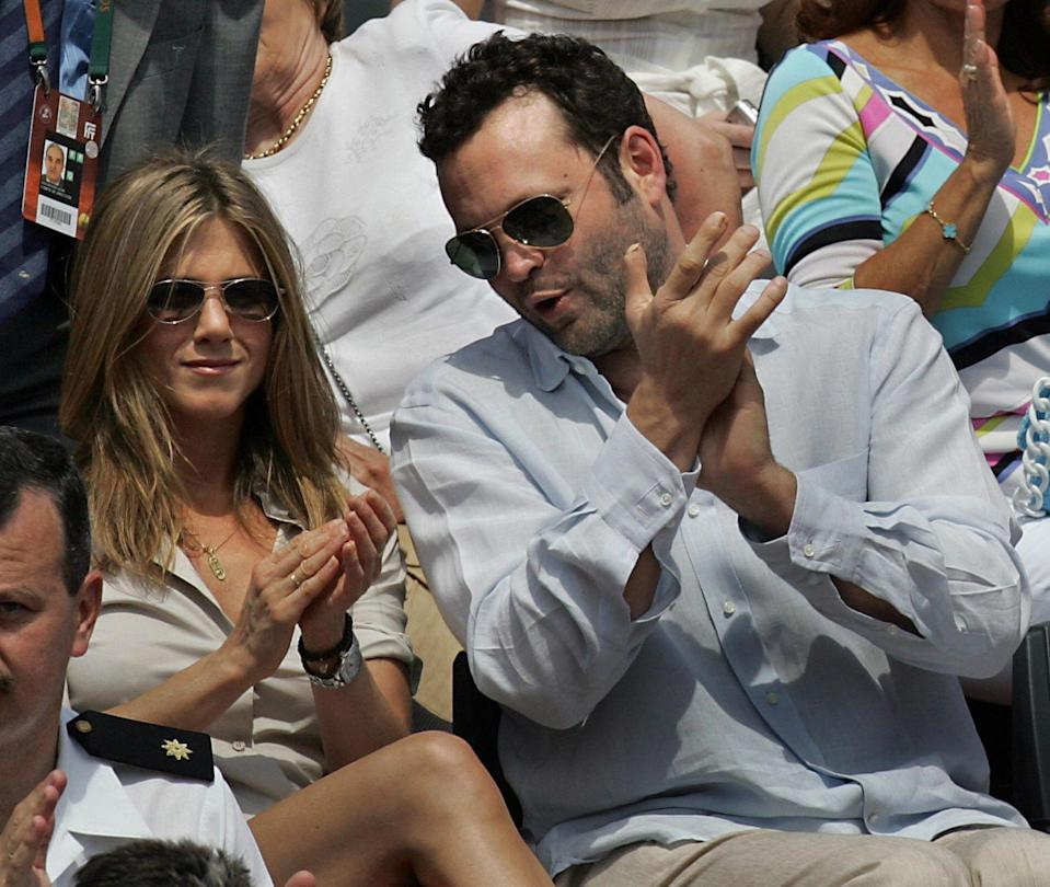 """<p>Fresh off her divorce from Brad, Jen Aniston started dating Vince Vaughn. The actors met on the set of a film that <a href=""""https://www.bustle.com/p/why-did-jennifer-aniston-vince-vaughn-break-up-the-break-up-stars-dated-on-screen-irl-9987865"""" rel=""""nofollow noopener"""" target=""""_blank"""" data-ylk=""""slk:would foreshadow their fate"""" class=""""link rapid-noclick-resp"""">would foreshadow their fate</a>: The Break-Up. Their busy schedules kept them away from one another. After Jen flew to London in 2006 to see Vince, <a href=""""https://people.com/celebrity/jennifer-aniston-vince-vaughn-split-2/"""" rel=""""nofollow noopener"""" target=""""_blank"""" data-ylk=""""slk:break-up rumors were confirmed a few short weeks later"""" class=""""link rapid-noclick-resp"""">break-up rumors were confirmed a few short weeks later</a>.</p>"""