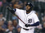 Detroit Tigers' Travis Demeritte reacts as he flies out against the Baltimore Orioles during the sixth inning of a baseball game Friday, Sept. 13, 2019, in Detroit. (AP Photo/Duane Burleson)
