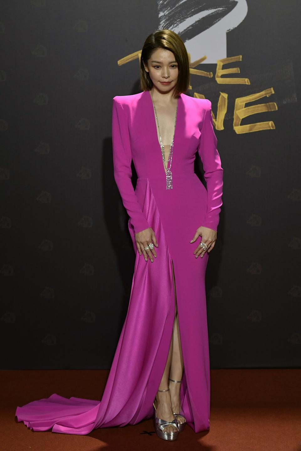 Taiwanese actress Vivian Hsu arrives on the red carpet at the 57th Golden Horse film awards, dubbed the Chinese 'Oscars', in Taipei on November 21, 2020. (Photo by SAM YEH / AFP) (Photo by SAM YEH/AFP via Getty Images)