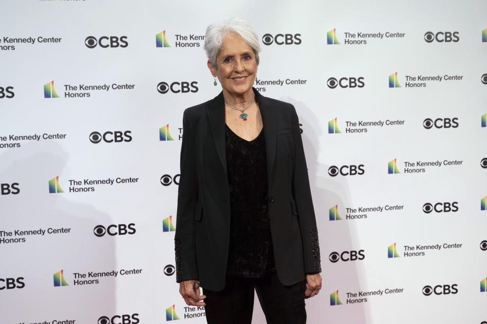 2020 Kennedy Center honoree singer-songwriter and activist Joan Baez attends the 43nd Annual Kennedy Center Honors at The Kennedy Center on Friday, May 21, 2021, in Washington. (AP Photo/Kevin Wolf)