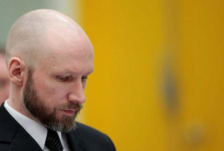 Anders Behring Breivik reacts during the appeal case in Borgarting Court of Appeal at Telemark prison in Skien