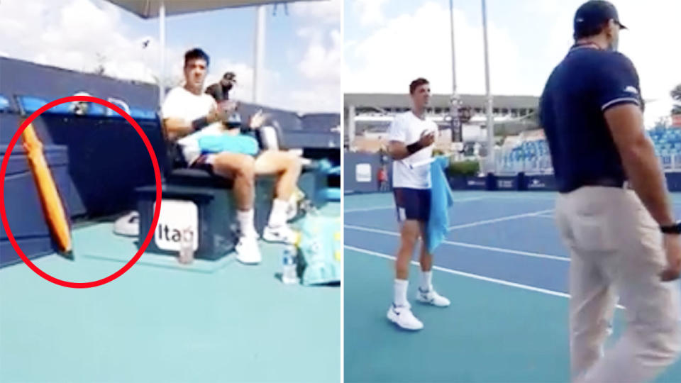 Thanasi Kokkinakis, pictured here fuming at the umpire at the Miami Open.