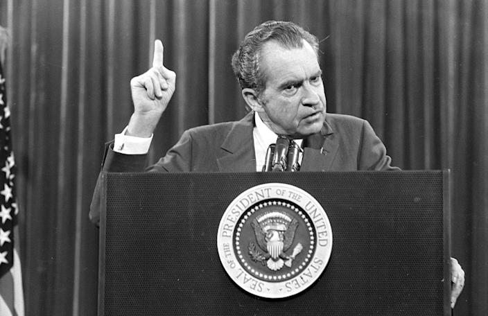 """President Richard Nixon addresses the Associated Press Managing Editors' annual meeting in 1973, where he told the press """"I am not a crook."""" (Photo: AP)"""