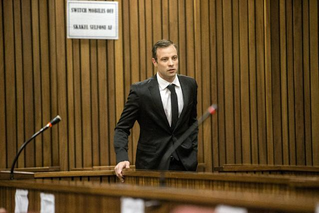 Oscar Pistorius appears for a postponement of his sentencing hearing at the High Court in Pretoria, South Africa, April 18, 2016. REUTERS/Marco Longari/Pool