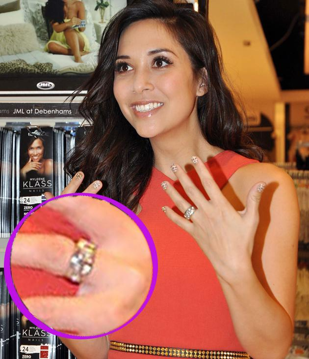Myleene Klass engagement ring: Myleene surprised us all when she got married in secret this year, and to seal the deal she picked up a band ring encrusted with diamonds – nice!