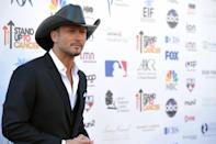 "Musician Tim McGraw attends the ""Stand Up to Cancer"" event at the Shrine Auditorium on Friday, Sept. 7, 2012 in Los Angeles. The initiative aimed to raise funds to accelerate innovative cancer research by bringing new therapies to patients quickly. (Photo by John Shearer/Invision/AP)"