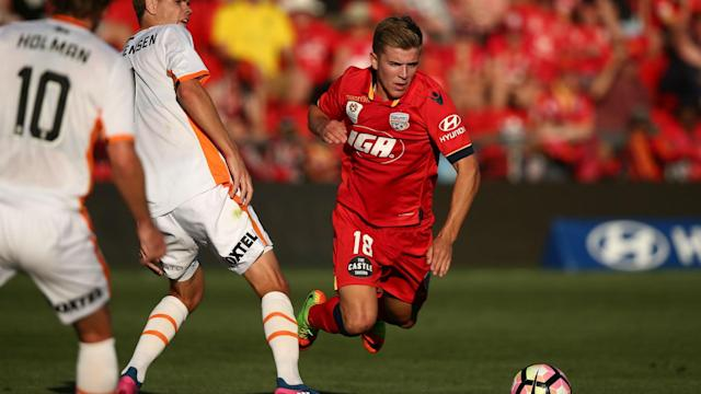 The teenage midfielder tumbled over a challenge from Thomas Kristensen of Brisbane Roar, with his theatrics earning his opponent a yellow card