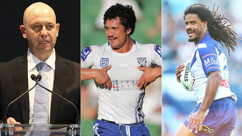 Pictured here, NRL CEO Todd Greenberg and the two Bulldogs players at the centre of a sex scandal.