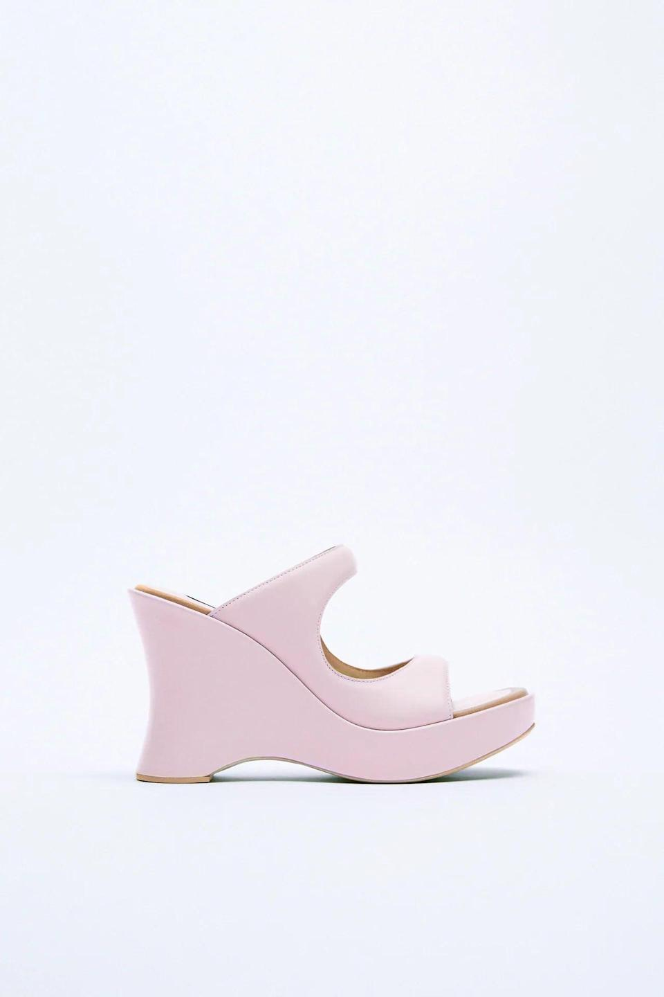<p>These <span>Zara Round Toe Leather Heeled Wedges</span> ($169) are so futuristic and fun. The pink makes a statement.</p>