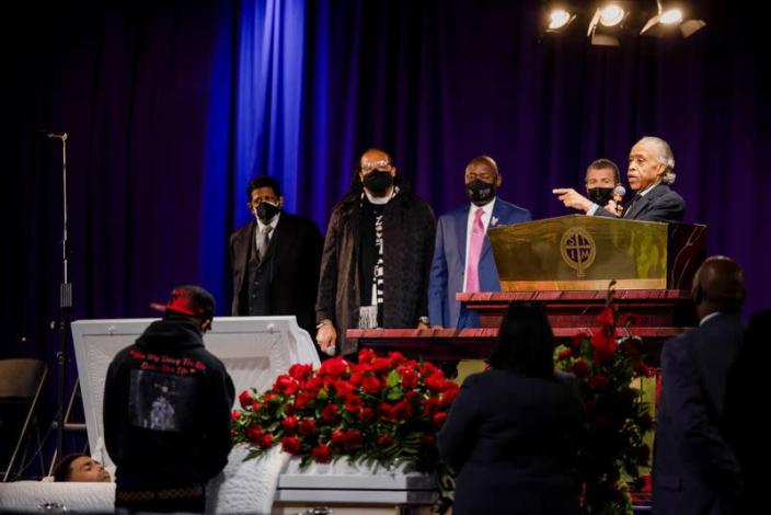Mourners assemble in a church for the public viewing of Daunte Wright, in Minneapolis, Minnesota