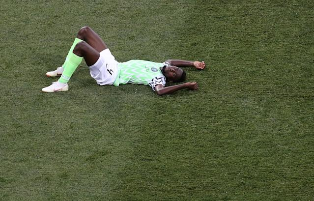 Soccer Football - World Cup - Group D - Nigeria vs Iceland - Volgograd Arena, Volgograd, Russia - June 22, 2018 Nigeria's Wilfred Ndidi celebrates victory after the match REUTERS/Sergio Perez TPX IMAGES OF THE DAY