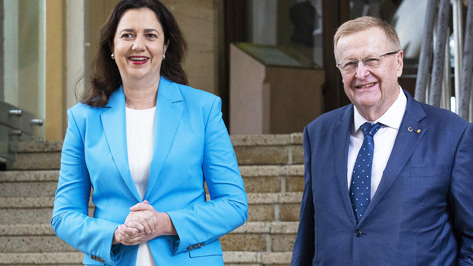 Queensland Premier Annastacia Palaszczuk and Australian Olympic Committee president John Coates, pictured here speaking to the media in Brisbane.