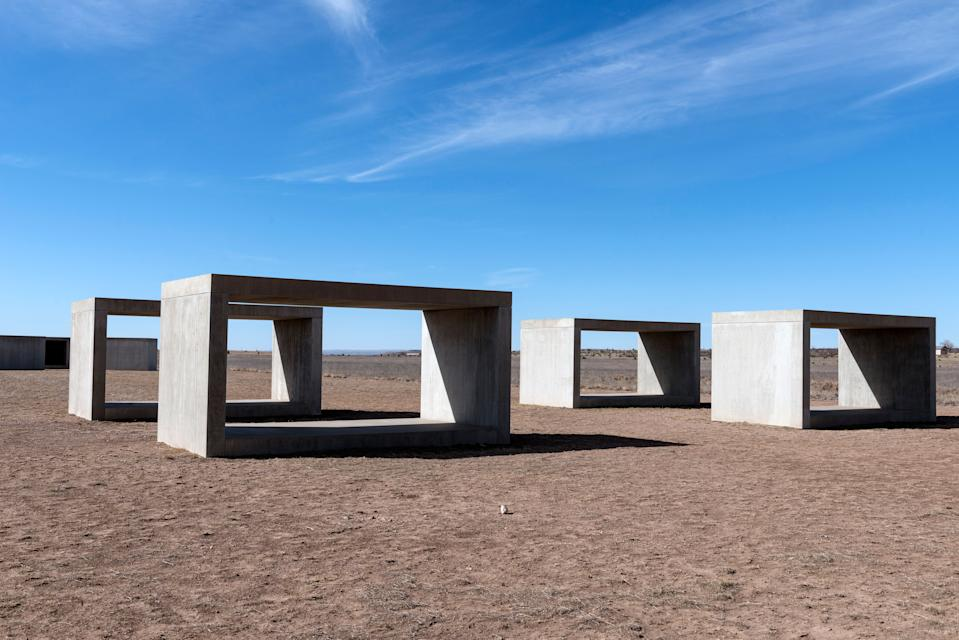 UNITED STATES - MARCH 22:  Untitled box-like art, sometimes called Judd cubes, by Minimalist artist Donald Judd, though he detested the minimalist description, on the grounds of the Chinati Foundation, or La Fundacion Chinati, a contemporary art museum in Marfa, a surprisingly sophisticated town in the Texas high desert (Photo by Carol M. Highsmith/Buyenlarge/Getty Images)