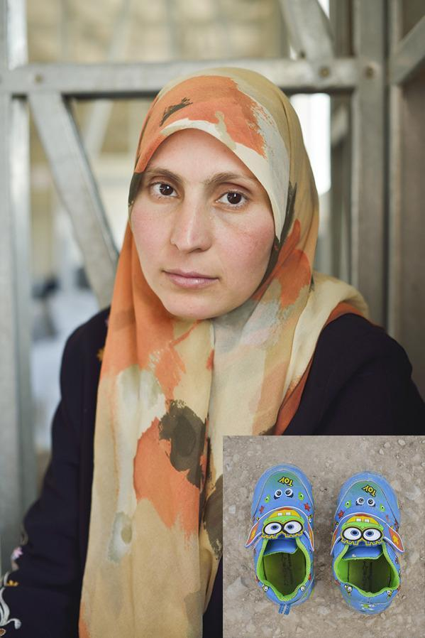 """<b>Rama'a, a 29-year old philosophy teacher, fled Deraa, in southern Syria, with her children.</b> """"It took us six days to reach the Jordanian border. We travelled through the desert in a truck crammed with more than 100 people. At night, it was freezing – we had to lie on the ground. The only route available is called 'the road of death'. You see the graves of the people who died on the way as you travel by. """"For me, my home was the most beautiful place. We didn't want to leave it for the world. I cry when I think about it. But we had no choice. Earlier this year my children's school was raided by soldiers. They'd heard that some of the children had been chanting anti-regime slogans, and they forced their way in. They pointed their guns and made the children kneel. One 14-year-old boy was shot in the head. """"I used to be a philosophy teacher. We had a good life. When we left, we carried what we could. I arrived here just in these clothes and these shoes. These SpongeBob SquarePants shoes are my daughter's favourite."""""""