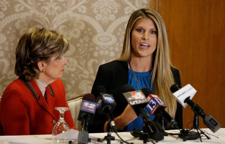Temple Taggart, right, Miss Utah 1997, talks to the press with her attorney Gloria Allred, in Salt Lake City, Utah. (Photo: George Frey/Reuters)