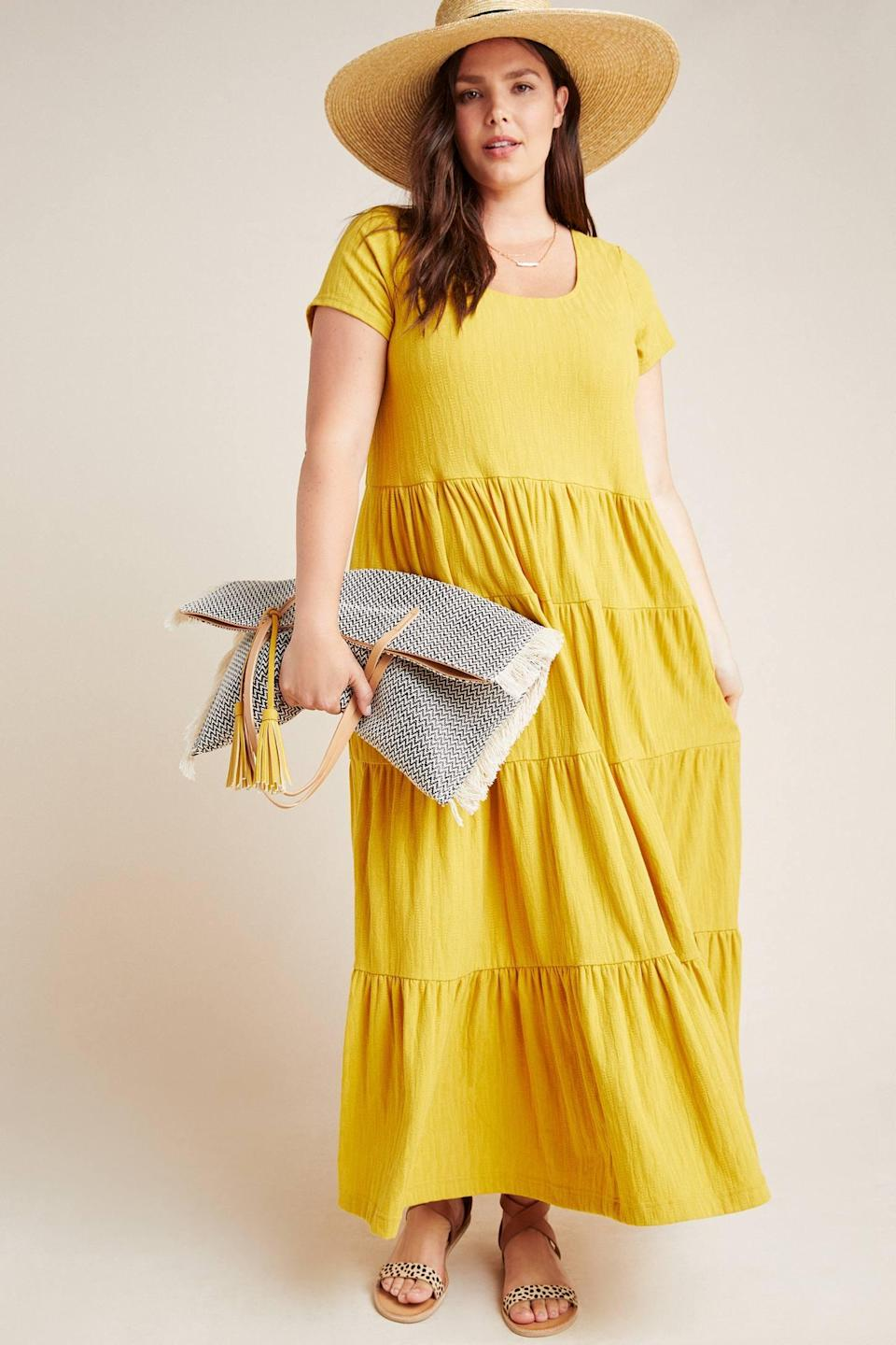 """<p>This <a href=""""https://www.popsugar.com/buy/Gillian-Tiered-Maxi-Dress-546576?p_name=Gillian%20Tiered%20Maxi%20Dress&retailer=anthropologie.com&pid=546576&price=128&evar1=travel%3Aus&evar9=47260997&evar98=https%3A%2F%2Fwww.popsugar.com%2Ftravel%2Fphoto-gallery%2F47260997%2Fimage%2F47261154%2FGillian-Tiered-Maxi-Dress&list1=shopping%2Ctravel%2Cdresses%2Cspring%20fashion&prop13=api&pdata=1"""" class=""""link rapid-noclick-resp"""" rel=""""nofollow noopener"""" target=""""_blank"""" data-ylk=""""slk:Gillian Tiered Maxi Dress"""">Gillian Tiered Maxi Dress</a> ($128) comes in four colors.</p>"""