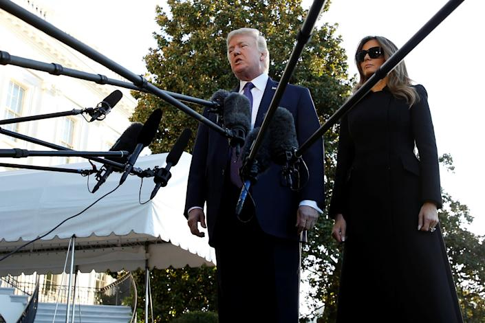 <p>President Donald Trump speaks to reporters as he and first lady Melania Trump depart for travel to Las Vegas, in the aftermath of the shooting there, from the South Lawn of the White House in Washington, Oct. 4, 2017. (Photo: Jonathan Ernst/Reuters) </p>