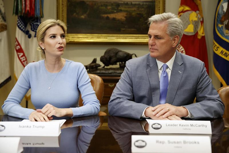 Ivanka Trump leads meeting at White House in father's absence