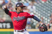 Cleveland Indians' Francisco Lindor throws out Texas Rangers' Elvis Andrus during the first inning of the second game of a baseball doubleheader in Cleveland, Wednesday, Aug. 7, 2019. (AP Photo/Phil Long)