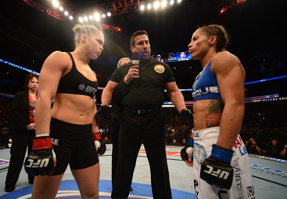 ANAHEIM, CA - FEBRUARY 23:  (L-R) Opponents Ronda Rousey and Liz Carmouche face off before their women's bantamweight title fight during UFC 157 at Honda Center on February 23, 2013 in Anaheim, California.  (Photo by Donald Miralle/Zuffa LLC/Zuffa LLC via Getty Images)