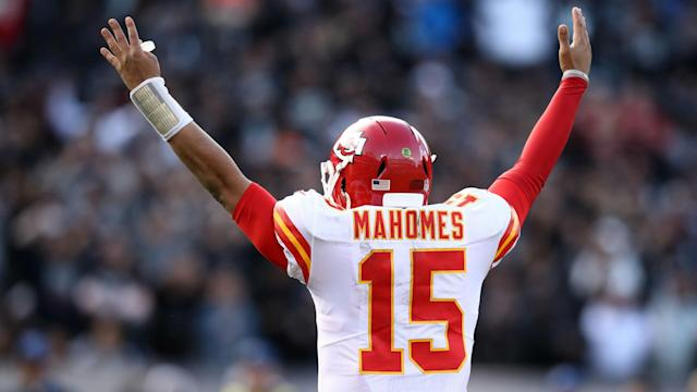 Patrick Mahomes joins Peyton Manning as the only two players to have 50 touchdowns and 5,000 passing yards in a single season.