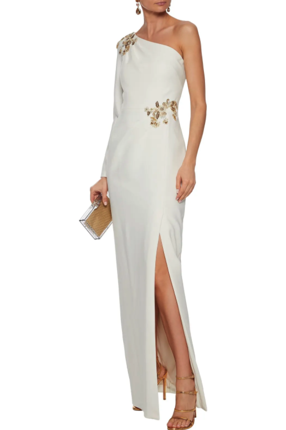 Marchesa Notte One-shoulder Embellished Stretch-cady Gown. Image via The Outnet.