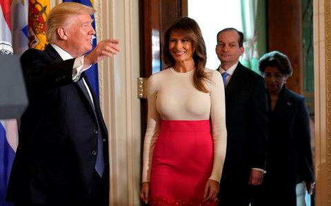 U.S. President Donald Trump and first lady Melania Trump arrive to host an event to commemorate Hispanic Heritage Month at the White House in Washington, U.S., October 6, 2017 - Credit: Reuters