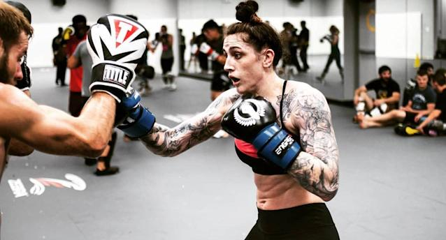Megan Anderson (shown here training at Glory MMA & Fitness in Lee's Summit, Missouri) is 8-2 in her professional career. (Instagram/megana_mma)