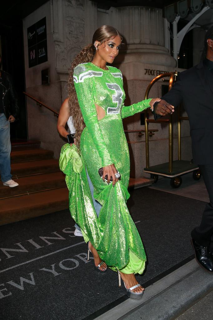 Ciara wore a football-themed gown for the Met Gala in NYC. - Credit: MEGA