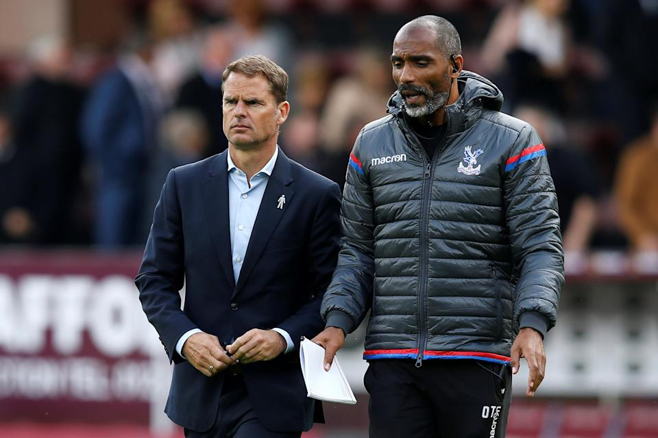 """Frank De Boer (left) is on the hot seat at <a class=""""link rapid-noclick-resp"""" href=""""/soccer/teams/crystal-palace/"""" data-ylk=""""slk:Crystal Palace"""">Crystal Palace</a> after just four games. (Reuters)"""