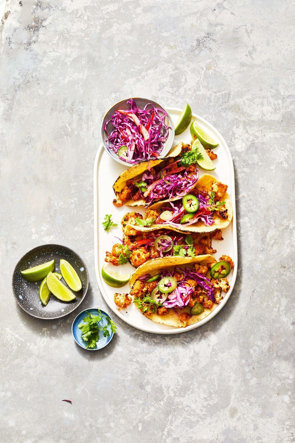"""<p>Cook cauliflower in the air fryer then pile into tacos for a vegetarian feast.</p><p><em><a href=""""https://www.goodhousekeeping.com/food-recipes/a37223730/cauliflower-tacos-recipe/"""" rel=""""nofollow noopener"""" target=""""_blank"""" data-ylk=""""slk:Get the recipe for Roasted Cauliflower Tacos »"""" class=""""link rapid-noclick-resp"""">Get the recipe for Roasted Cauliflower Tacos »</a></em></p><p><strong>RELATED: </strong><a href=""""https://www.goodhousekeeping.com/food-recipes/healthy/g908/vegetarian-recipes/"""" rel=""""nofollow noopener"""" target=""""_blank"""" data-ylk=""""slk:50 Easy Vegetarian Recipes for the Whole Family"""" class=""""link rapid-noclick-resp"""">50 Easy Vegetarian Recipes for the Whole Family</a><br></p>"""
