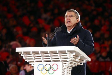 Pyeongchang 2018 Winter Olympics - Closing ceremony - Pyeongchang Olympic Stadium - Pyeongchang, South Korea - February 25, 2018 - IOC President Thomas Bach gives a speech during the closing ceremony. REUTERS/Kai Pfaffenbach