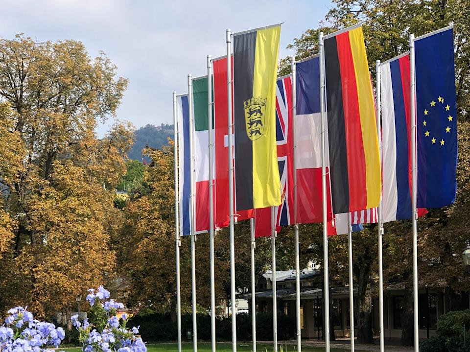 Flag day: Baden Baden in Germany, one of the few countries still open to British travellers this autumn (Simon Calder)