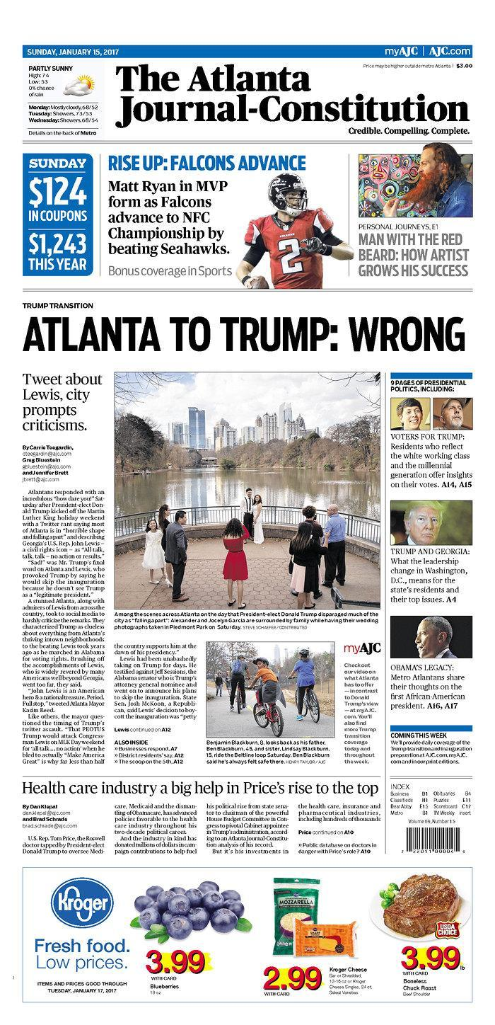 The cover of the Atlanta Journal-Constitution, Jan. 15, 2017. (AJC)