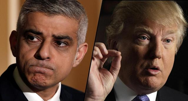 London Mayor Sadiq Khan, left, and U.S. President Donald Trump. (Photos: Yves Herman/Reuters, Richard Drew/AP)