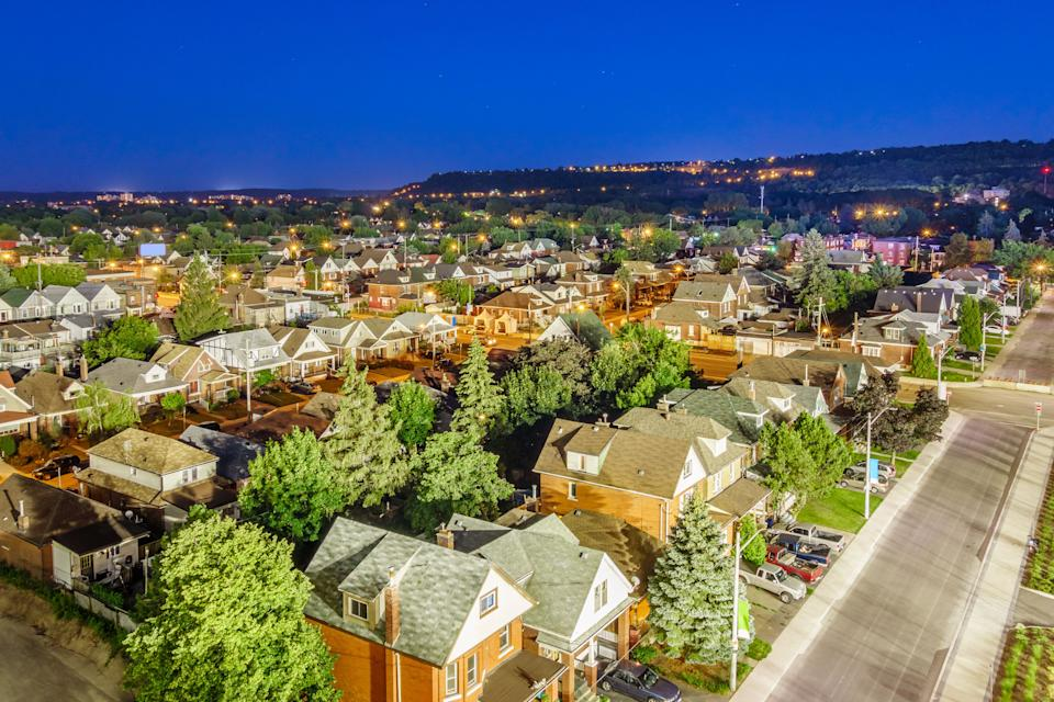An aerial view of a residential neighbourhood in Hamilton, Ont., is seen in this undated file photo. Canadian house prices are showing signs of being detached from reality. (Photo: benedek via Getty Images)