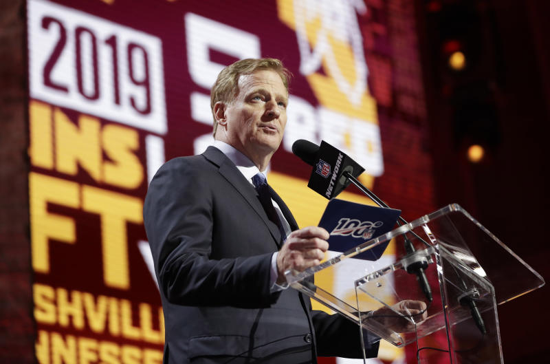 NFL commissioner Roger Goodell has to decide what will happen with the 2020 draft. (AP Photo/Mark Humphrey)