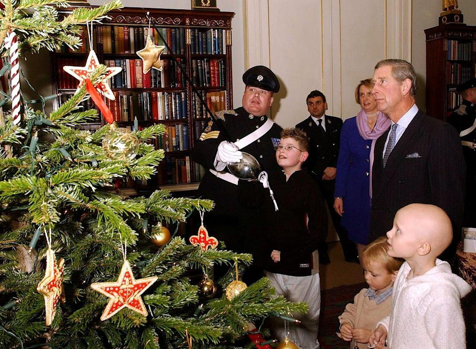 <p>Prince Charles hosts a Christmas party with children suffering from Leukemia. Here, the kids watch Sergeant Mark Bevan of the Queen's Dragoon put ornaments on the tree with his sword.</p>