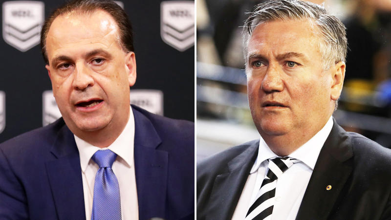 Peter V'landys and Eddie McGuire, pictured here discussing the coronavirus crisis.