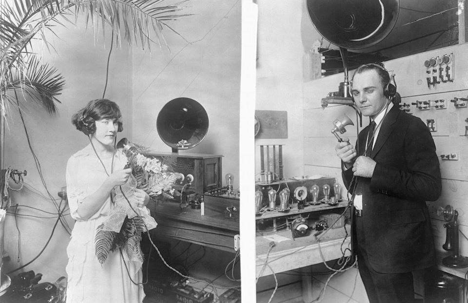 """<p>The emerging technology of radios was all the rage in 1922, so much so that a couple decided to saw their vows over the airwaves. They weren't too far, though. Both were at (separate) radio stations in Dallas and were able to give each other a kiss immediately after the ceremony. </p><p><a href=""""http://www.goodhousekeeping.com/beauty/hair/news/a41717/evolution-of-bridal-hair/"""" rel=""""nofollow noopener"""" target=""""_blank"""" data-ylk=""""slk:The fascinating history of bridal hair »"""" class=""""link rapid-noclick-resp""""><em>The fascinating history of bridal hair »</em></a></p>"""