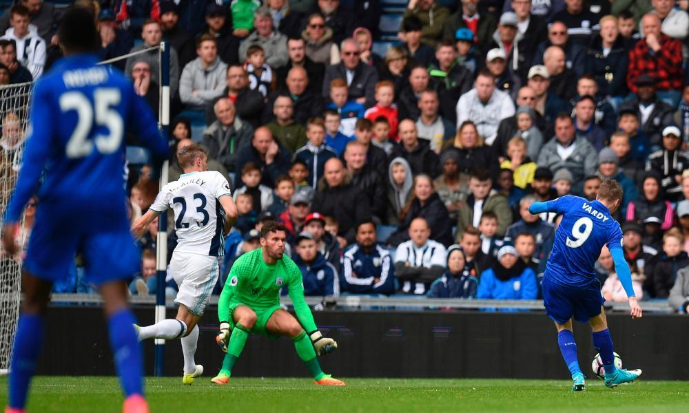 Leicester striker Jamie Vardy scores what turned out to be his side's winning goal against West Brom at The Hawthorns.